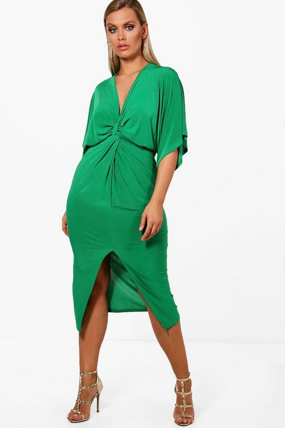 Plus Shelly Knot Front Slinky Dress