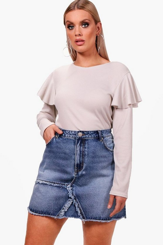 Plus Ruffle Shoulder Ribbed Jumper