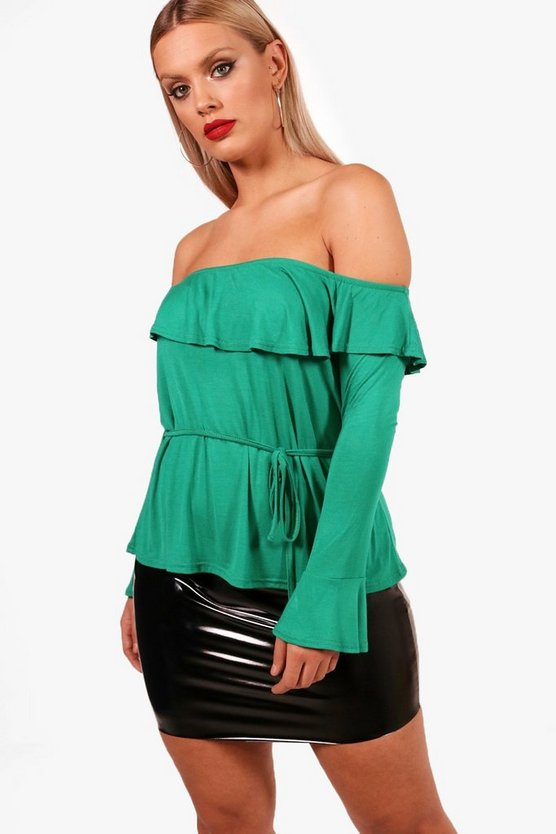 Plus Ruffle Neck Top