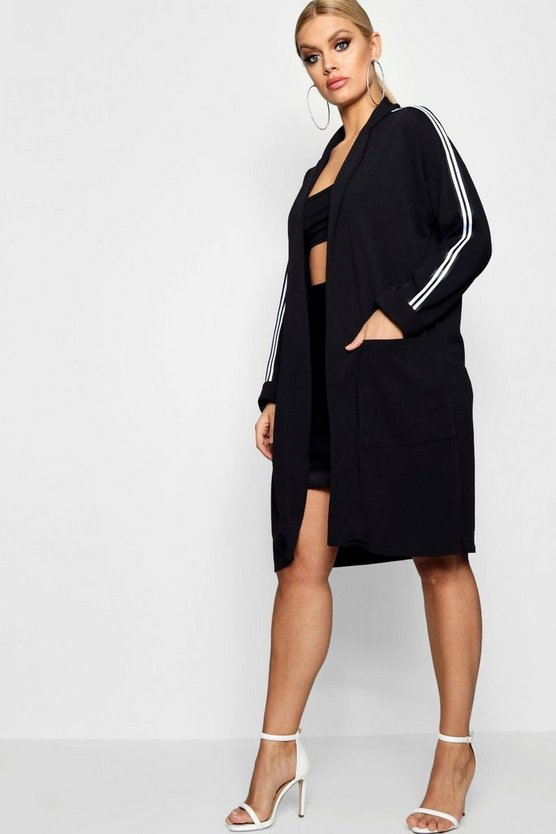 Plus Sports Stripe Rib Duster Jacket