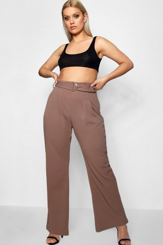 Plus Natalia Buckle Detail Wide Leg Trouser