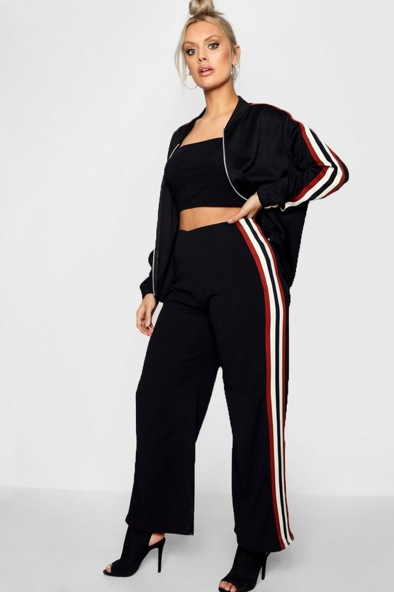Plus Faith Sports Trim Wide Leg Trouser