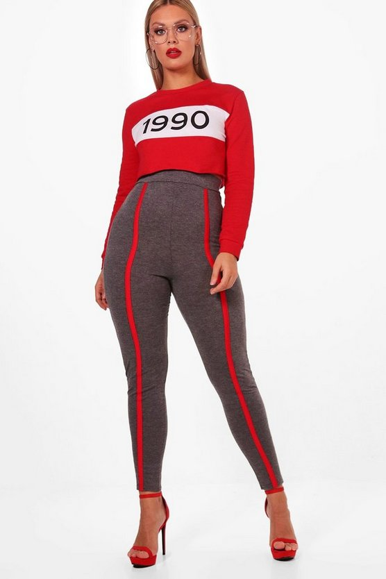 Plus Lucy Jersey Sports Trim Leggings