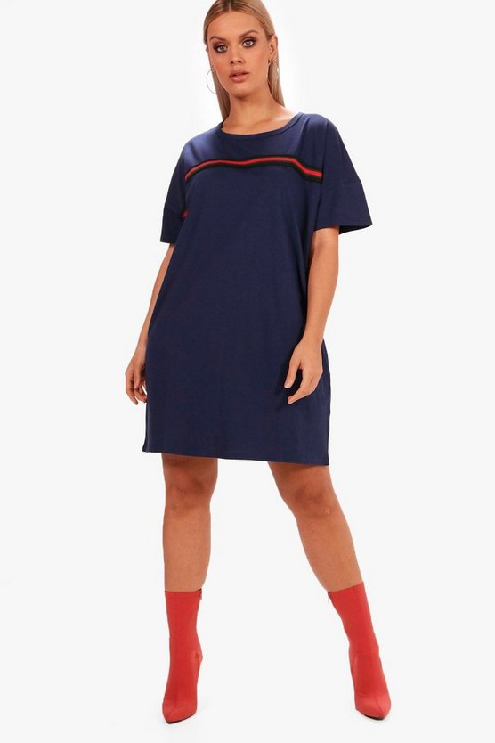 Plus Sara Sports Trim T Shirt Dress