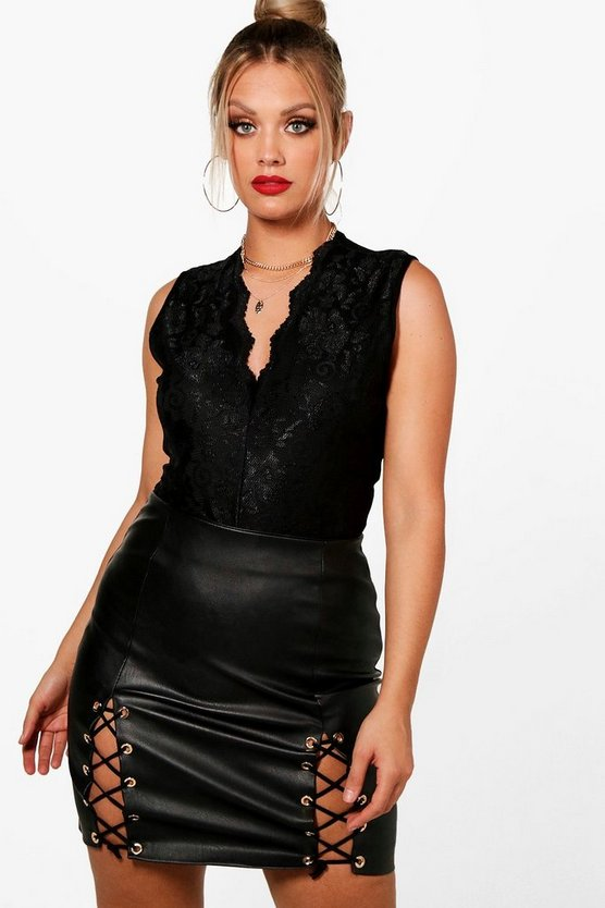Plus Kirsty Sleeveless Lace Bodysuit
