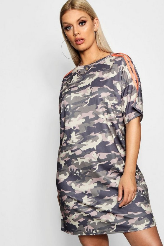 Plus Poppy Camo Stripe T-Shirt Dress