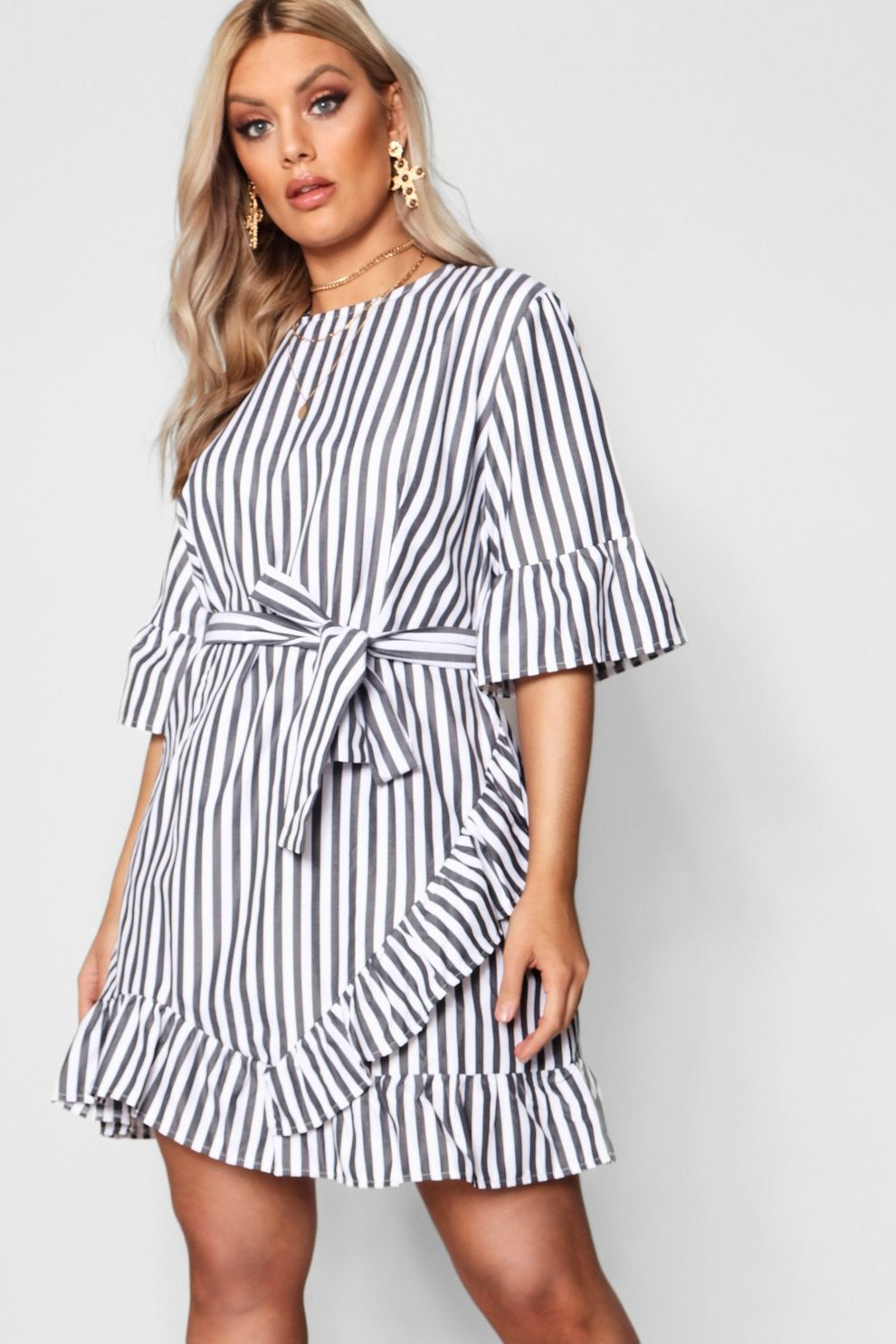 Boohoo Plus Stripe Ruffle Wrap Dress Cheap Official Eastbay Cheap Price Free Shipping Fashion Style gR228xFC