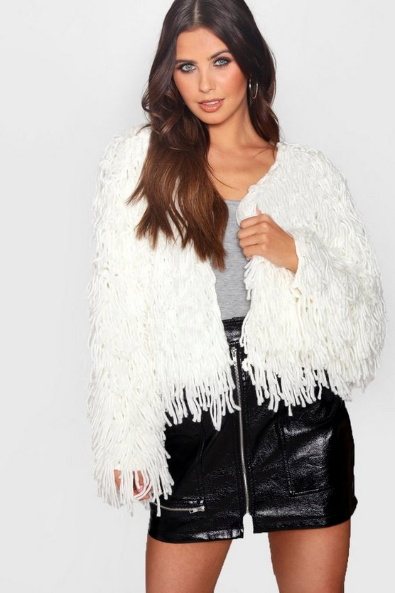 Petite Cropped Shaggy Knit Cardigan