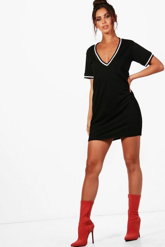 Petite Charlotte Sports Trim Plunge Shift Dress
