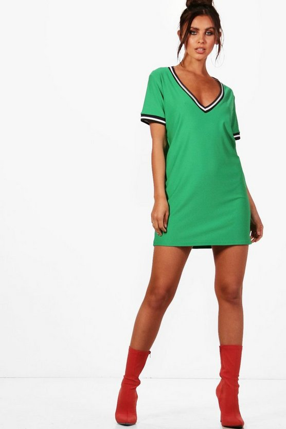 Petite Sports Trim Plunge Shift Dress