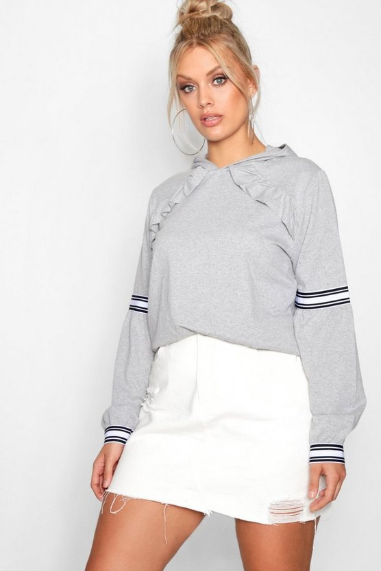 Plus Claire Sports Stripe Ruffle Sweat Top