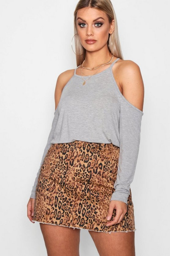 Plus Casey Jersey Open Shoulder Top