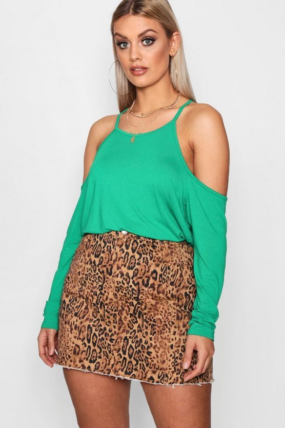 Plus Jersey Open Shoulder Top