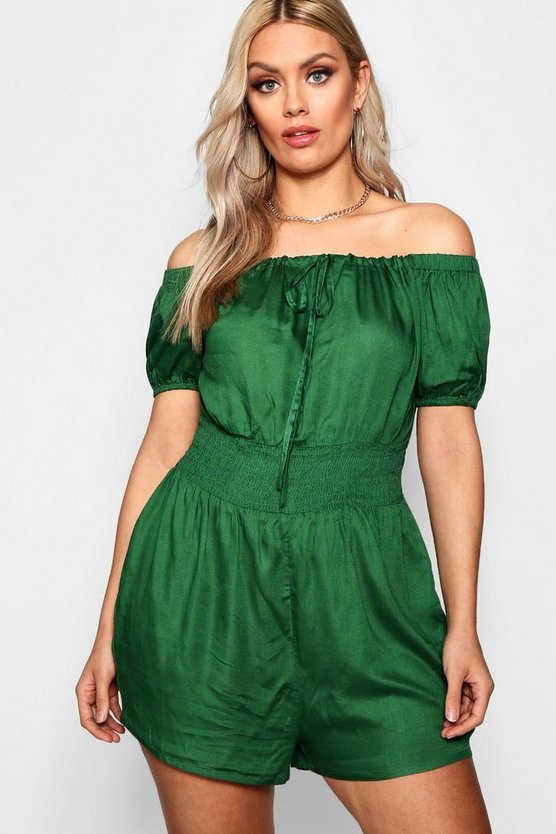 Plus Sheared Waist Playsuit