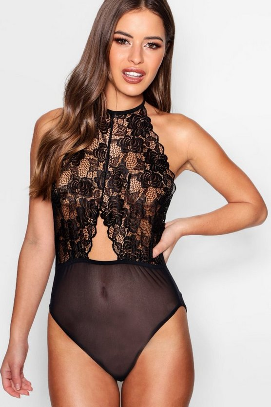 Petite Amelie Lace Cut Out Halter Neck Body