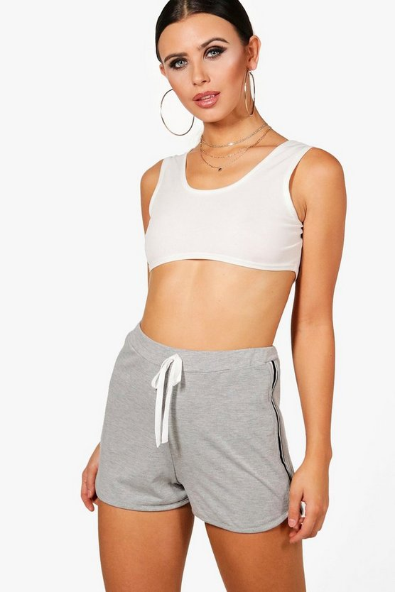 Petite Tiffany Jersey Sports Trim Runner Shorts by Boohoo