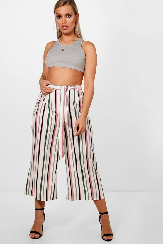 Plus Stripe Belted Culotte Trouser