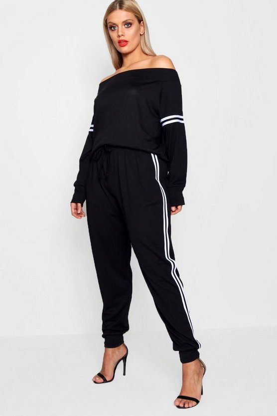 Plus Alyssa Off The Shoulder Sports Stripe Set