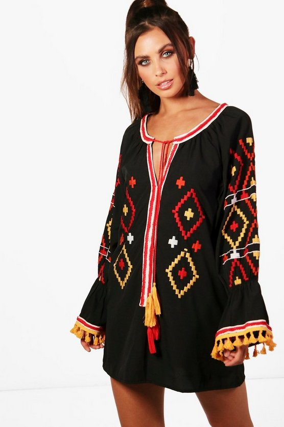 Petite Poppy Embroidered Sleeve Dress