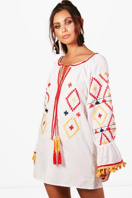 Petite Embroidered Sleeve Dress