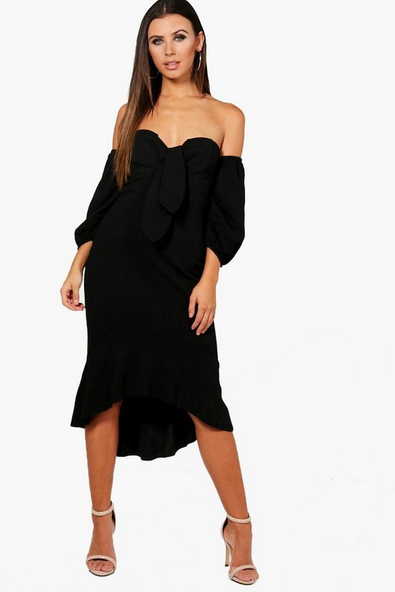 Petite Macie Off Shoulder Puff Sleeve Midi Dress