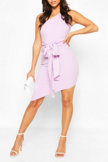 Lilac Petite One Shoulder Asymmetric Bodycon Dress