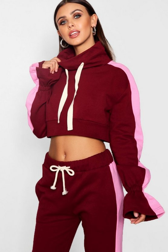 Petite Stripe Funnel Neck Co-Ord Sweat Top