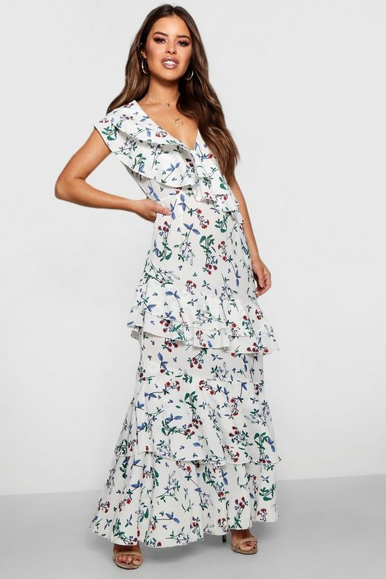 Petite Floral Ruffle Detail Woven Maxi Dress by Boohoo