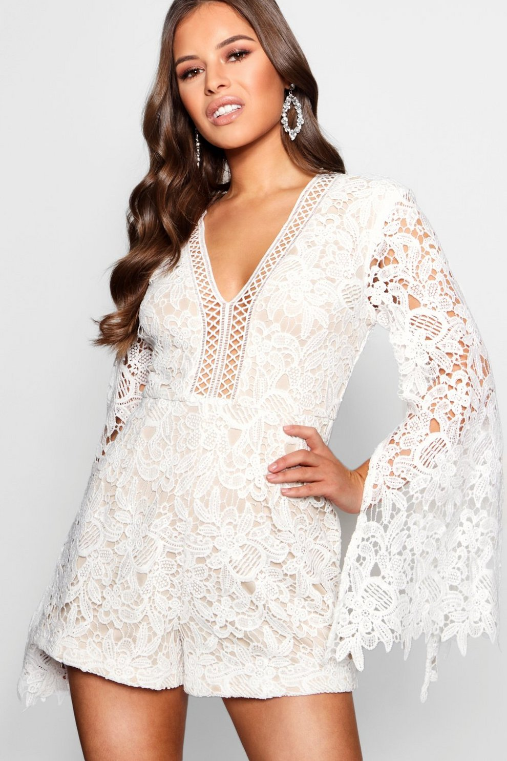 Shop Offer Cheap Online Sale With Mastercard Boohoo Petite Mandy Button Front Crochet Lace Playsuit M0dId5qhRJ
