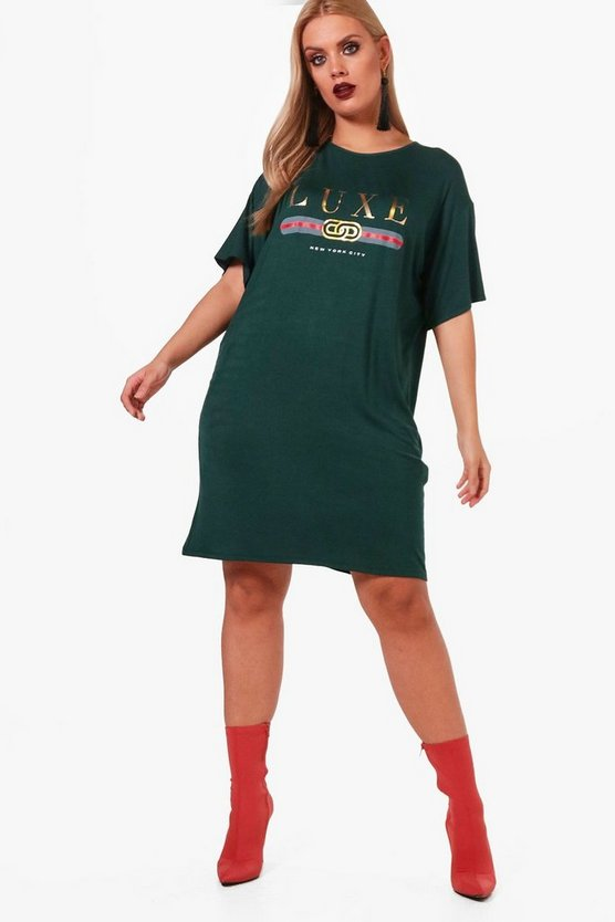 Plus Taylor 'Luxe' Printed T-Shirt Dress