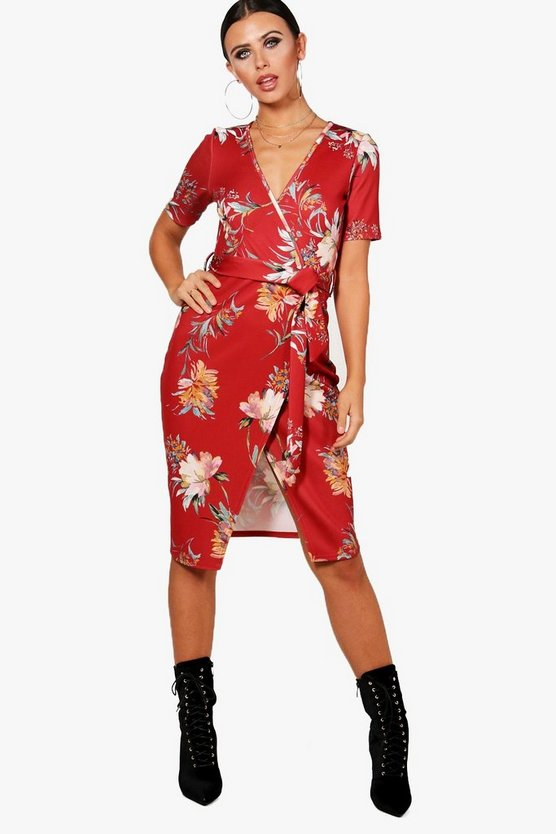 Petite Amy Plunge Wrap Floral Midi Dress