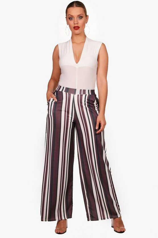 Plus Crepe Stripe Wide Leg Trouser