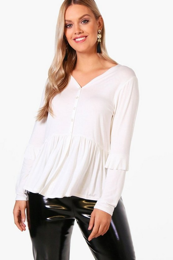 Plus Leila Button Front Ruffle Detail Tops