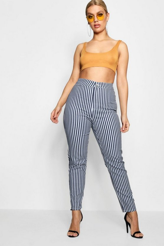 Plus Stripe Tube Jean