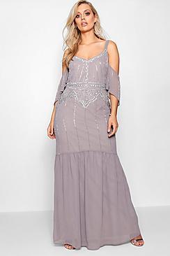 Plus Boutique Embellished Open Shoulder Maxi Dress