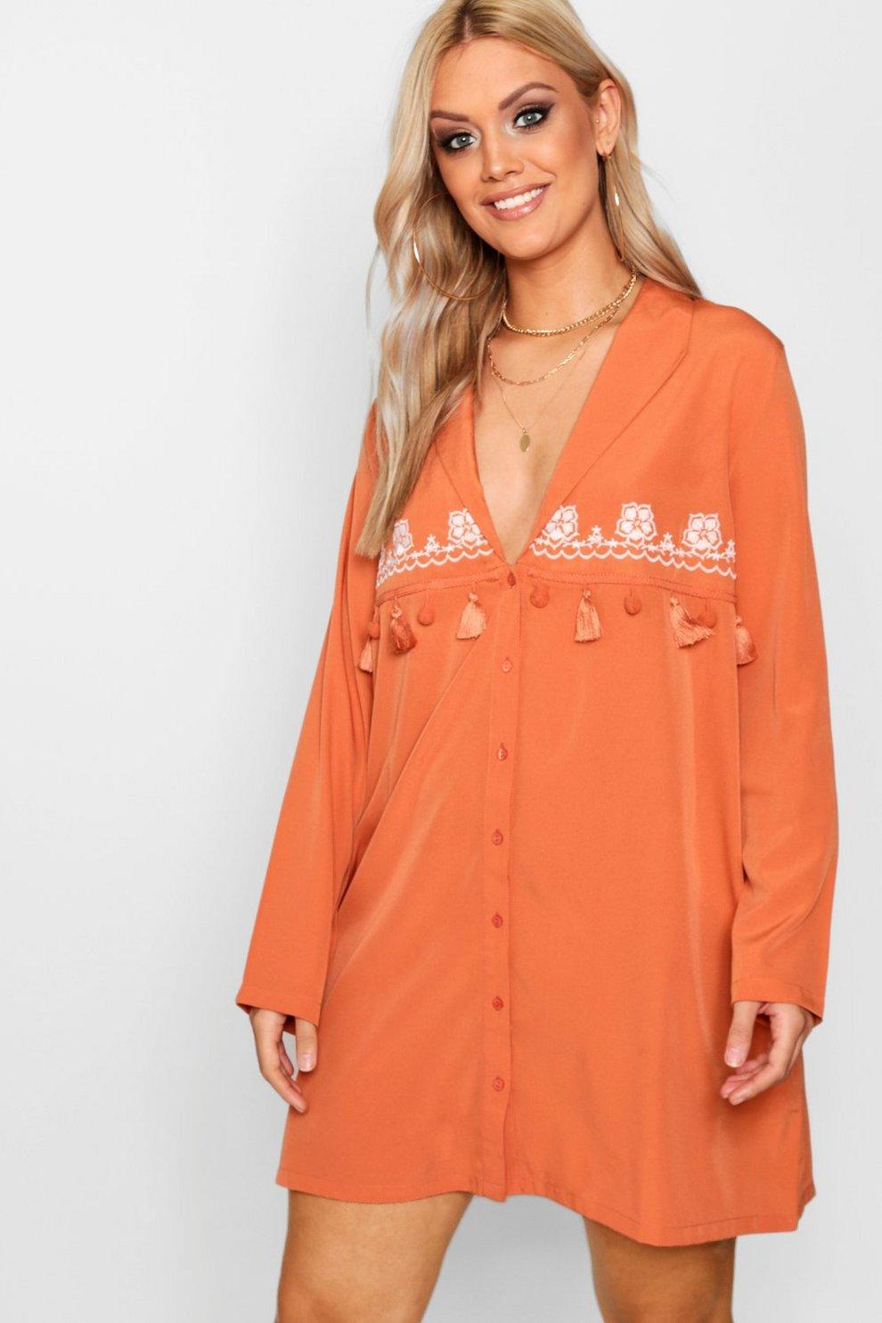 Boohoo Embroidered Tassel Shirt Cheap Sale Sale 100% Guaranteed Sale Online Store Sale Online eCsUlDkq
