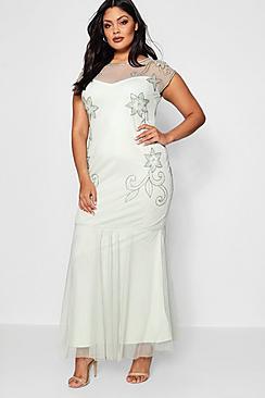 Plus Lorna Boutique Embellished Fishtail Maxi Dress