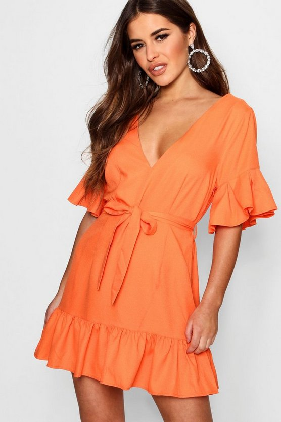 Petite Emma Volume Sleeve Tie Waist Wrap Dress