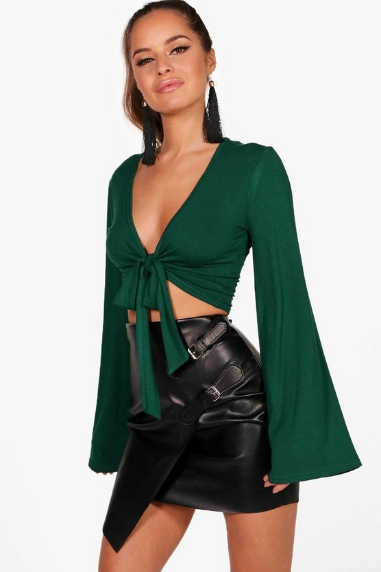 Petite Freya Wide Sleeve Knot Front Top