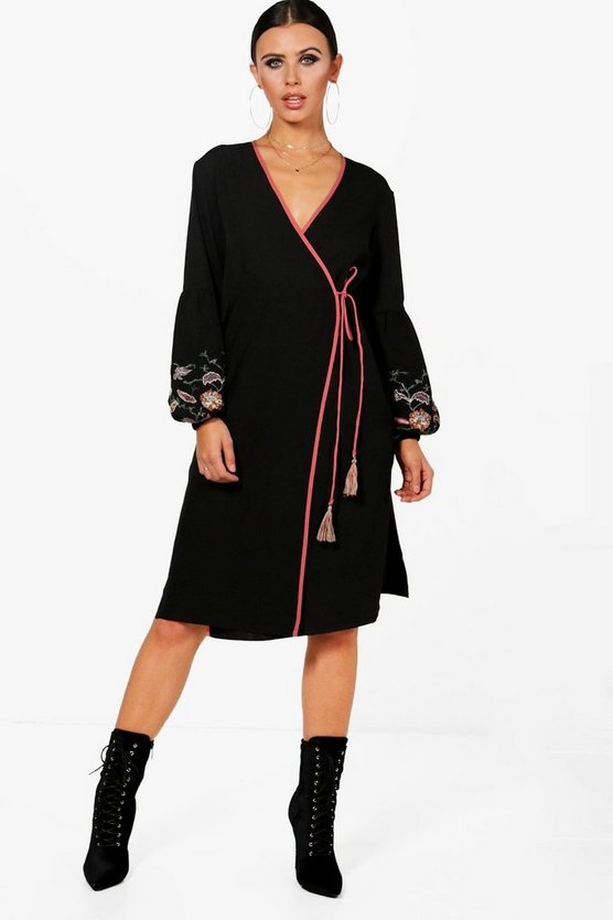 Petite Embroidered Puff Sleeve Kimono Dress