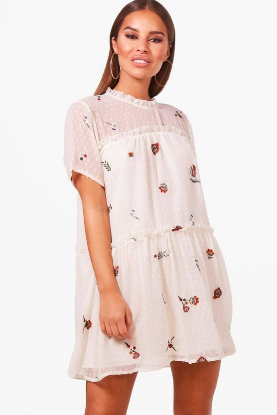 Petite Eileen Embroidered Smock Dress