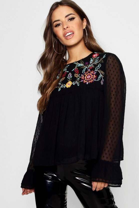 Petite Tie Neck Embroidered Smock Top