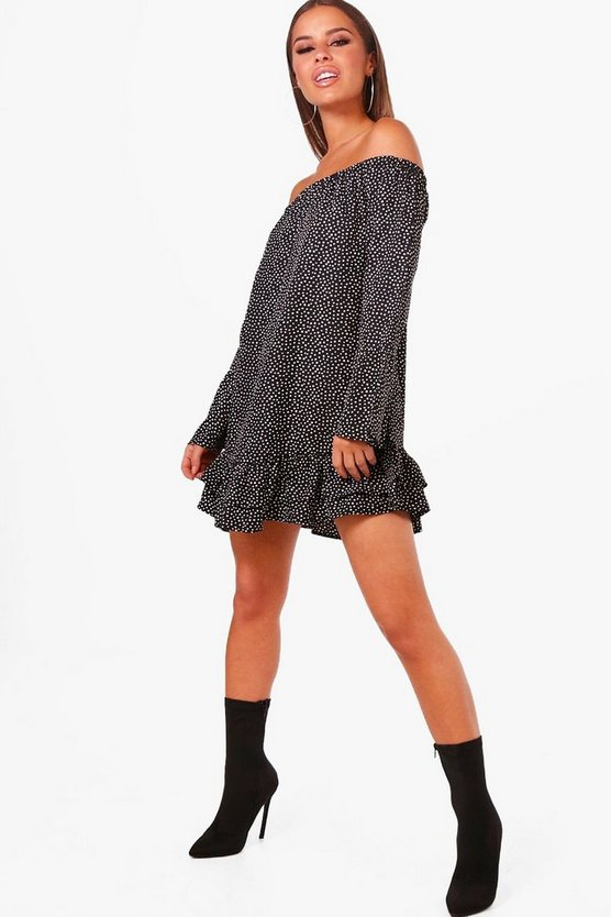 Petite Wendy Polka Dot Off The Shoulder Dress