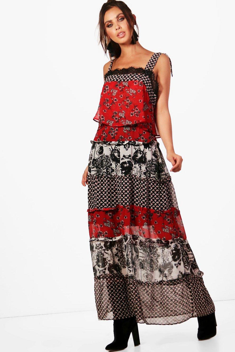 Mixed print maxi dress next