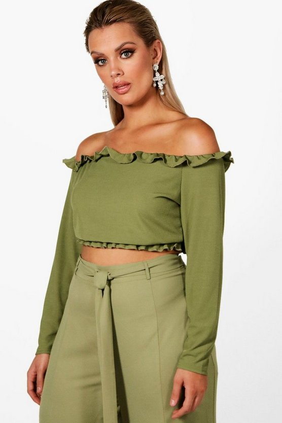Plus Anthea Rib Frill Off The Shoulder Crop Top