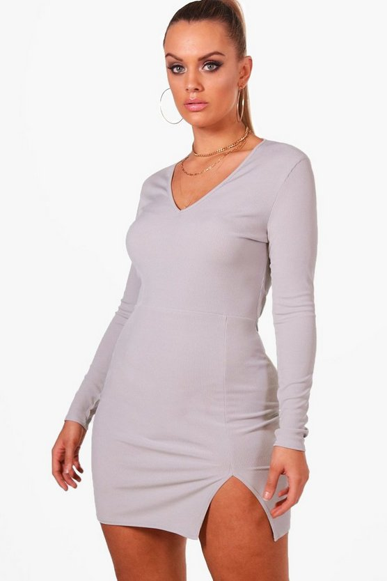 Plus Daisy Rib Front Split Bodycon Dress