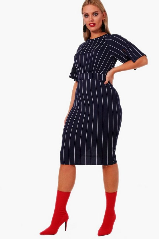 Plus Sara Stripe Split Sleeve Wiggle Midi Dress