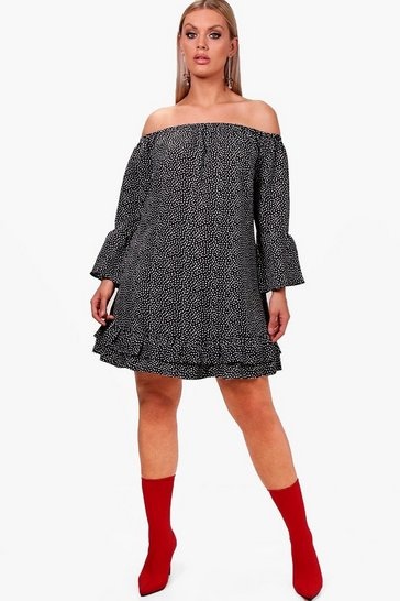 Black Plus  Off The Shoulder Polka Dot Ruffle Dress
