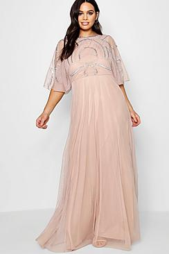 Plus Caitlyn Embellished Angel Sleeve Maxi Dress