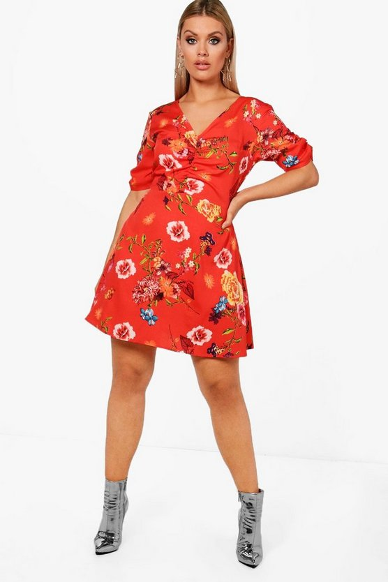 Plus Rita Ruched Front Floral Skater Dress